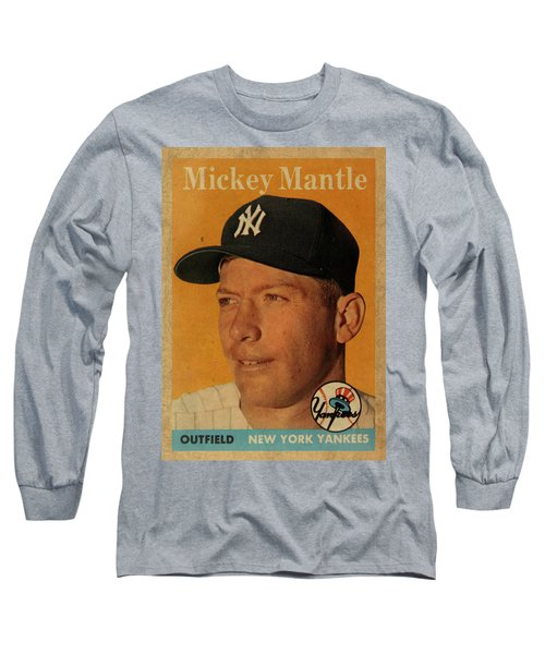 1958 Topps Baseball Mickey Mantle Card Vintage Poster Long Sleeve T-Shirt by Design Turnpike