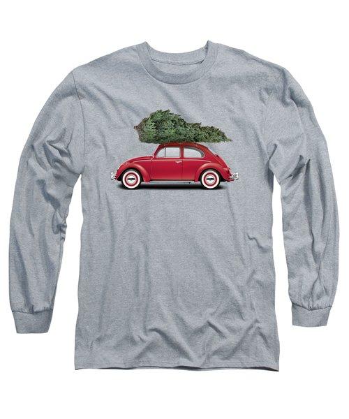 1962 Volkswagen Deluxe Sedan - Ruby Red W/ Christmas Tree Long Sleeve T-Shirt by Ed Jackson