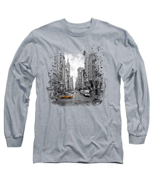 New York City 5th Avenue Long Sleeve T-Shirt by Melanie Viola
