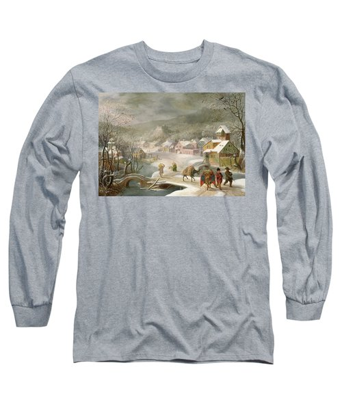A Winter Landscape With Travellers On A Path Long Sleeve T-Shirt by Denys van Alsloot