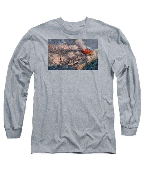 Admiral Farragut's Fleet Engaging The Rebel Batteries At Port Hudson Long Sleeve T-Shirt by American School