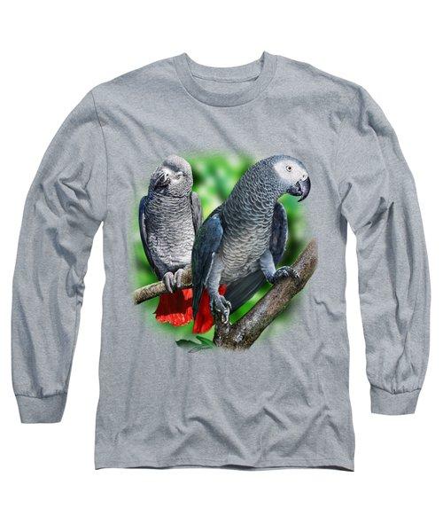 African Grey Parrots A Long Sleeve T-Shirt by Owen Bell