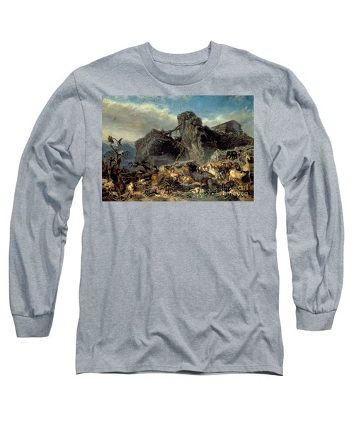 Animals Leaving The Ark, Mount Ararat  Long Sleeve T-Shirt by Filippo Palizzi