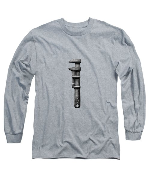 Antique Adjustable Wrench Bw Long Sleeve T-Shirt by YoPedro