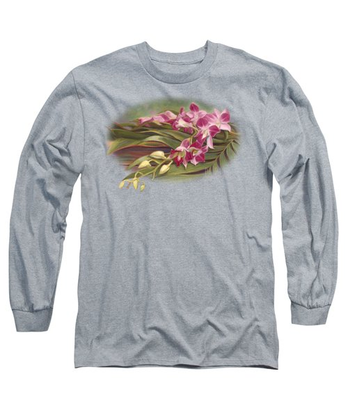 Dendrobium Orchids Long Sleeve T-Shirt by Lucie Bilodeau