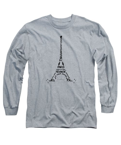 Digital Art Eiffel Tower Pattern Long Sleeve T-Shirt by Melanie Viola