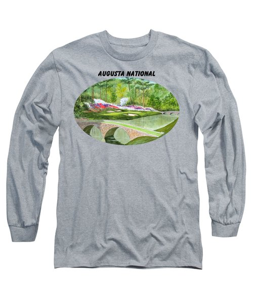 Augusta National Golf Course With Banner Long Sleeve T-Shirt by Bill Holkham