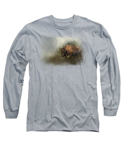 Bison After The Mud Bath Long Sleeve T-Shirt by Jai Johnson
