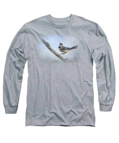 Blue Jay In The Snow Long Sleeve T-Shirt by Jai Johnson