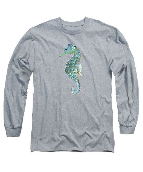 Blue Seahorse Long Sleeve T-Shirt by Amy Kirkpatrick