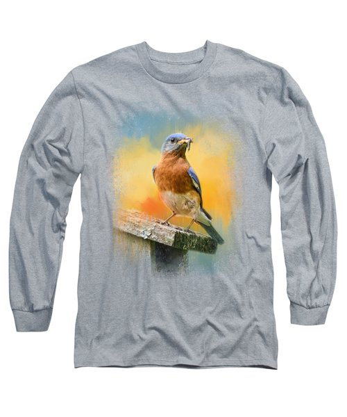 Bluebird Mealtime Long Sleeve T-Shirt by Jai Johnson