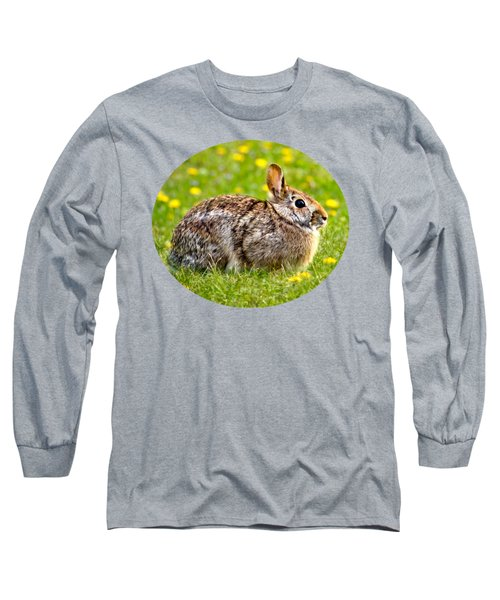 Brown Bunny In Green Grass Long Sleeve T-Shirt by Christina Rollo