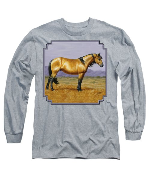 Buckskin Mustang Stallion Long Sleeve T-Shirt by Crista Forest