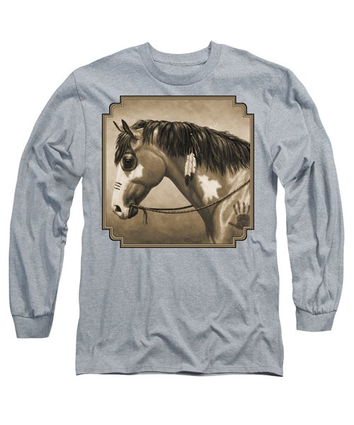 Buckskin War Horse In Sepia Long Sleeve T-Shirt by Crista Forest