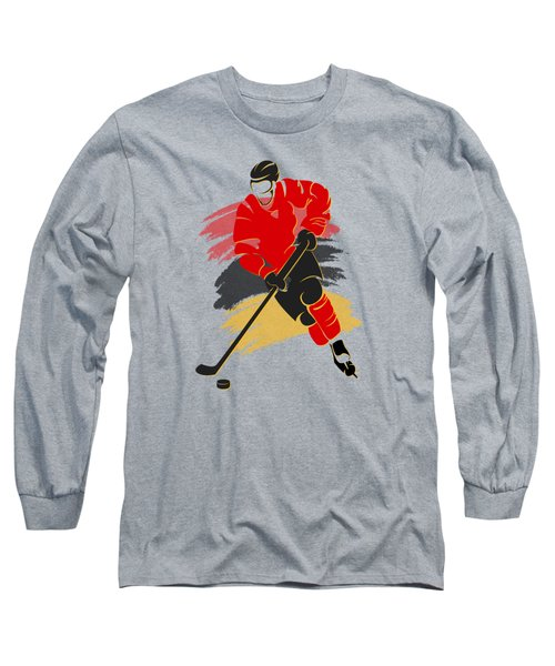 Calgary Flames Player Shirt Long Sleeve T-Shirt by Joe Hamilton