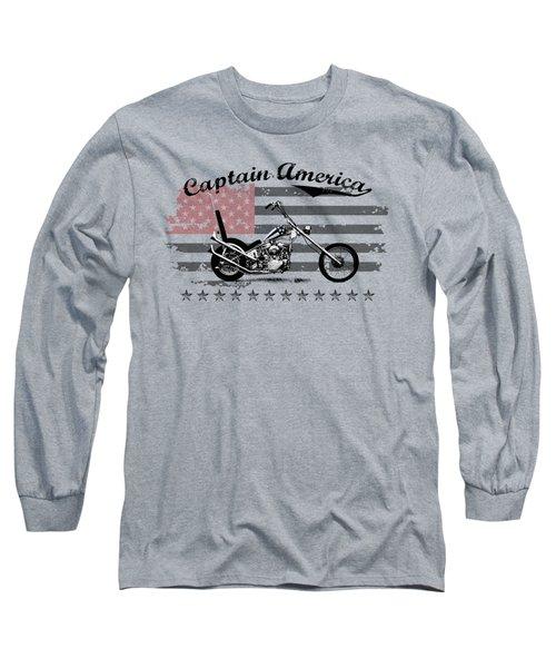 Captain America Long Sleeve T-Shirt by Mark Rogan