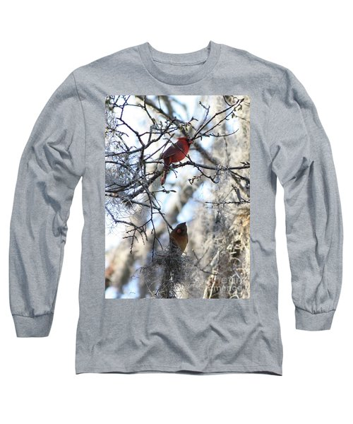Cardinals In Mossy Tree Long Sleeve T-Shirt by Carol Groenen