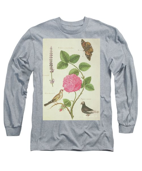 Centifolia Rose, Lavender, Tortoiseshell Butterfly, Goldfinch And Crested Pigeon Long Sleeve T-Shirt by Nicolas Robert
