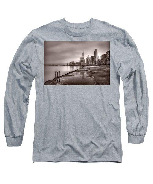 Chicago Foggy Lakefront Bw Long Sleeve T-Shirt by Steve Gadomski