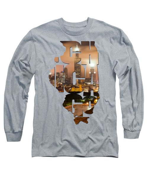 Chicago Illinois Typography - Chicago Skyline From The Rooftop Long Sleeve T-Shirt by Gregory Ballos