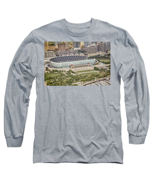 Chicago's Soldier Field Aerial Long Sleeve T-Shirt by Adam Romanowicz