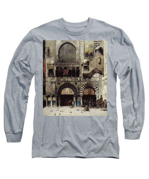 Circassian Cavalry Awaiting Their Commanding Officer At The Door Of A Byzantine Monument Long Sleeve T-Shirt by Alberto Pasini
