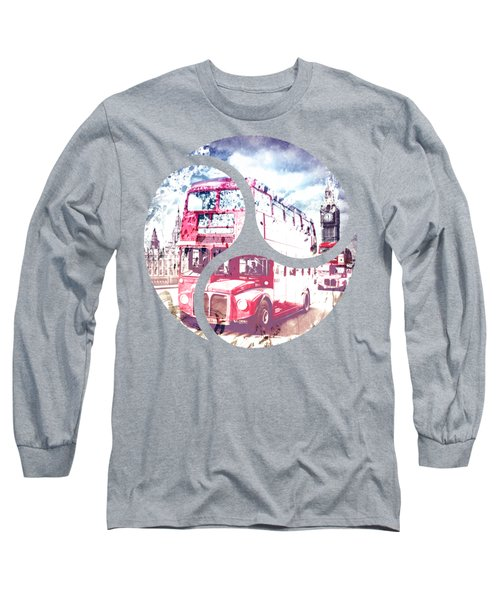 City-art London Red Buses On Westminster Bridge Long Sleeve T-Shirt by Melanie Viola