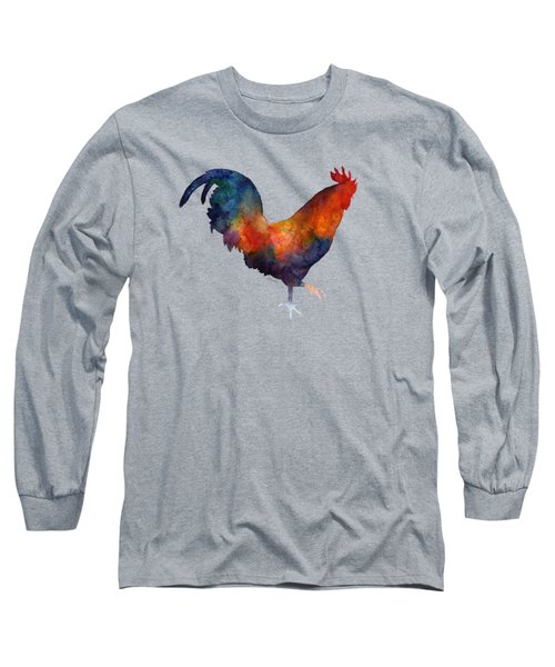 Colorful Rooster Long Sleeve T-Shirt by Hailey E Herrera