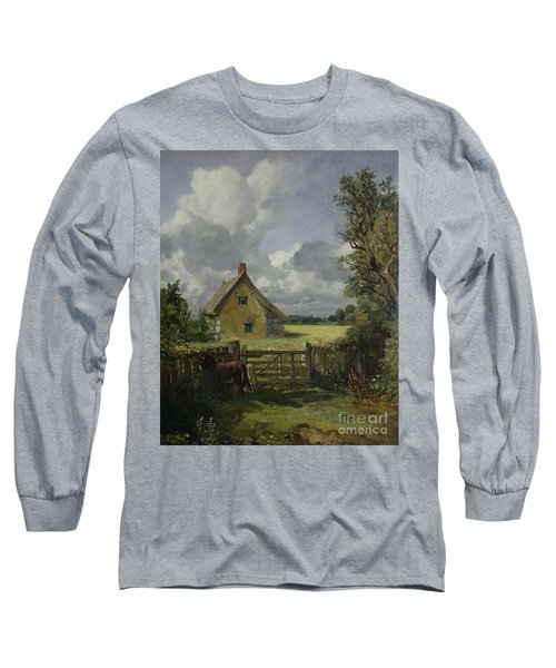 Cottage In A Cornfield Long Sleeve T-Shirt by John Constable