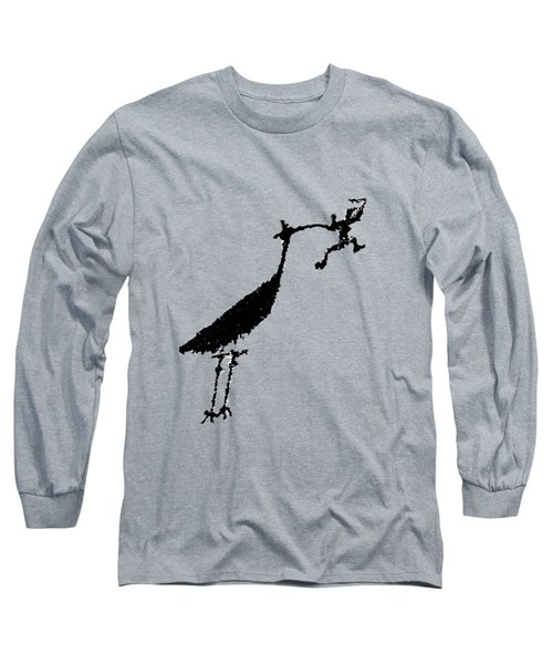 Crane Petroglyph Long Sleeve T-Shirt by Melany Sarafis