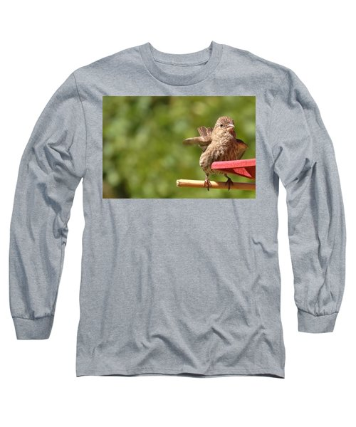 Crossbill Female At Feeder        Summer       Indiana Long Sleeve T-Shirt by Rory Cubel