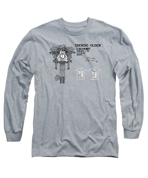 Cuckoo Clock Patent Art Long Sleeve T-Shirt by Justyna JBJart