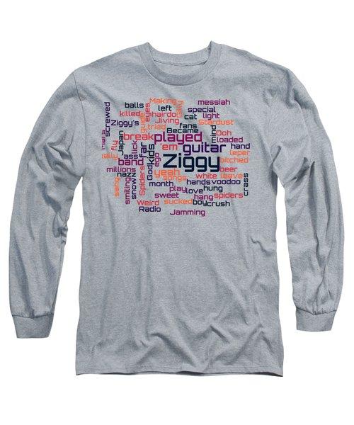 David Bowie - Ziggy Stardust Lyrical Cloud Long Sleeve T-Shirt by Susan Maxwell Schmidt