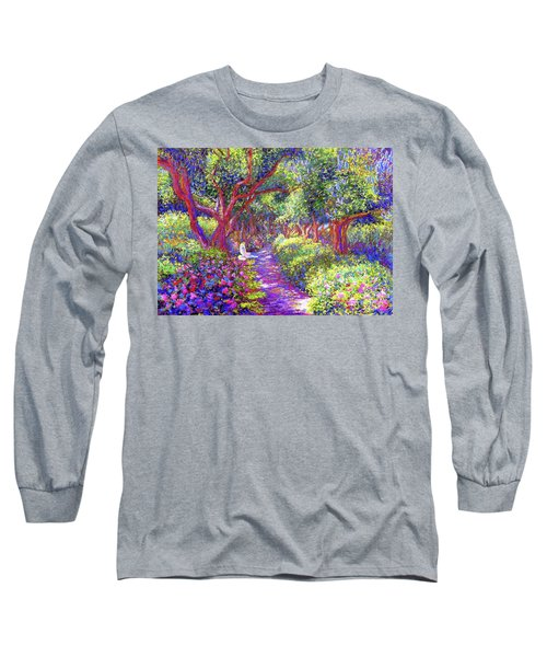 Dove And Healing Garden Long Sleeve T-Shirt by Jane Small