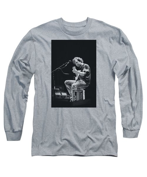 Eddie Vedder Playing Live Long Sleeve T-Shirt by Marco Oliveira