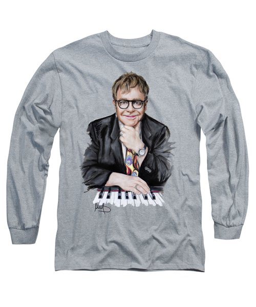 Elton John Long Sleeve T-Shirt by Melanie D