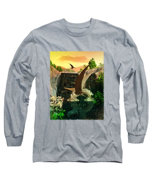 Fantasy Worlds 3d Dinosaur 2 Long Sleeve T-Shirt by Sharon and Renee Lozen