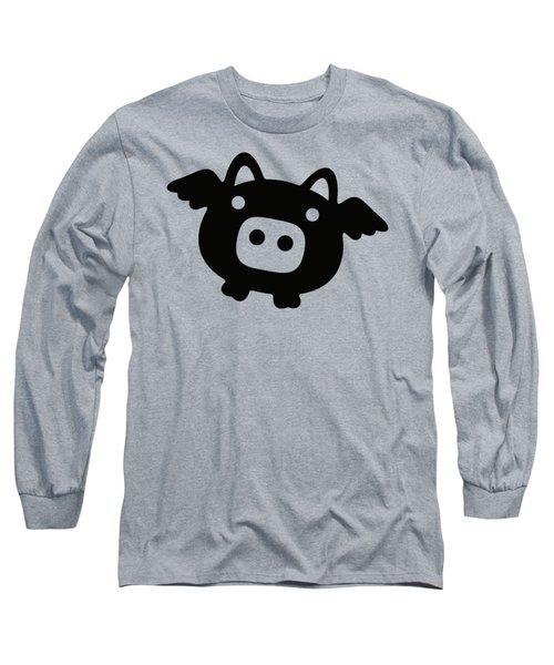 Flying Pig - Black Long Sleeve T-Shirt by Julia Jasiczak