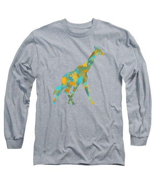 Giraffe Watercolor Art Long Sleeve T-Shirt by Christina Rollo