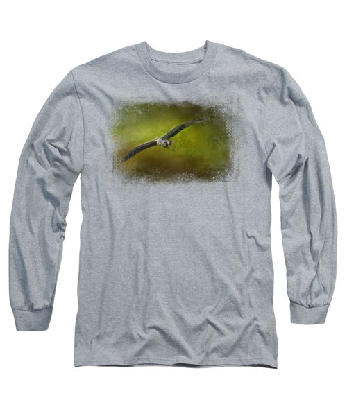 Great Blue Heron In The Grove Long Sleeve T-Shirt by Jai Johnson