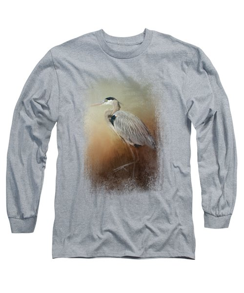 Heron At The Inlet Long Sleeve T-Shirt by Jai Johnson