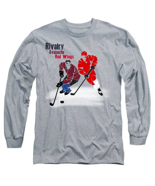 Hockey Rivalry Avalanche Red Wings Shirt Long Sleeve T-Shirt by Joe Hamilton