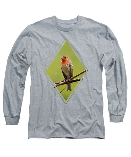 House Finch In The Rain Long Sleeve T-Shirt by Christina Rollo