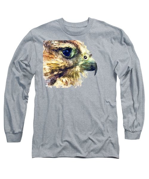 Kestrel Watercolor Painting Long Sleeve T-Shirt by Justyna JBJart