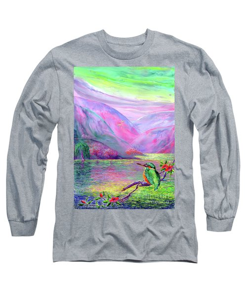 Kingfisher, Shimmering Streams Long Sleeve T-Shirt by Jane Small