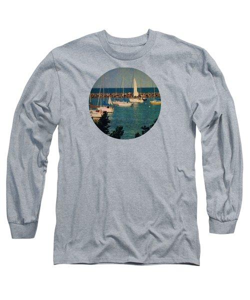 Lake Michigan Sailboats Long Sleeve T-Shirt by Mary Wolf