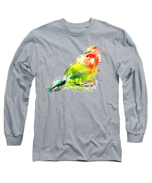 Lovebird Watercolor Painting Long Sleeve T-Shirt by Justyna JBJart