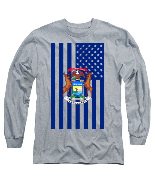 Michigan State Flag Graphic Usa Styling Long Sleeve T-Shirt by Garaga Designs