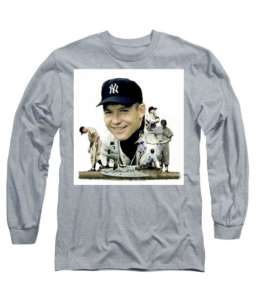 Mickey Mantle Legacy, II  Long Sleeve T-Shirt by Iconic Images Art Gallery David Pucciarelli