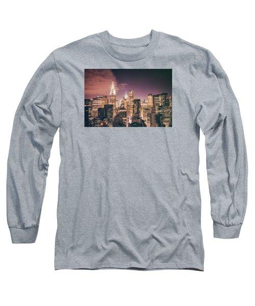 New York City Skyline - Night Long Sleeve T-Shirt by Vivienne Gucwa